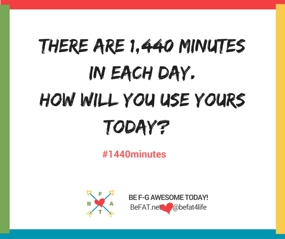 1440 minutes in each day/www.befat.net/inspirational graphic/8.10.2016