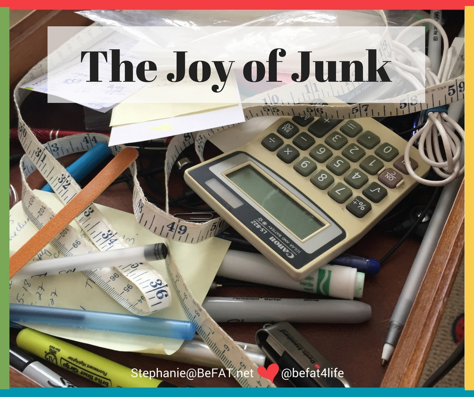 The Joy of Junk | picture of a junk drawer| Save Your Life. Clean Your Junk Drawer.|humor essay|www.befat.net|Stephanie DelTorchio