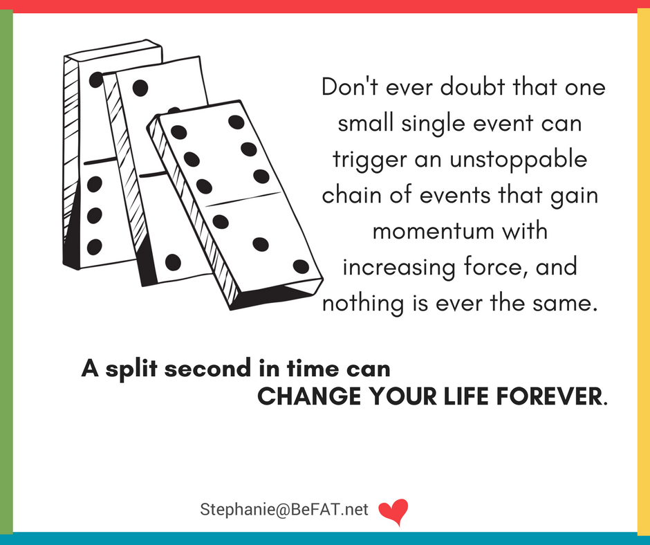 The Domino Effect. Inspirational quote.