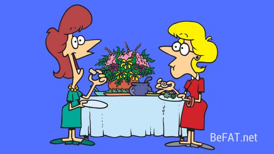 two women at a buffet cartoon www.befat.net